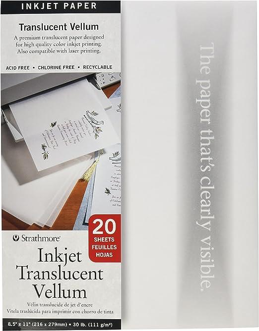 Strathmore 59 803 Printable Vellum 20sheet Translucent 8 5 X11