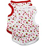 DroolingDog Pet Dog Clothes Slim Cotton Tank Summer Tee with Lovely Strawberry Pattern Vest for Small Dogs, 2 Packs