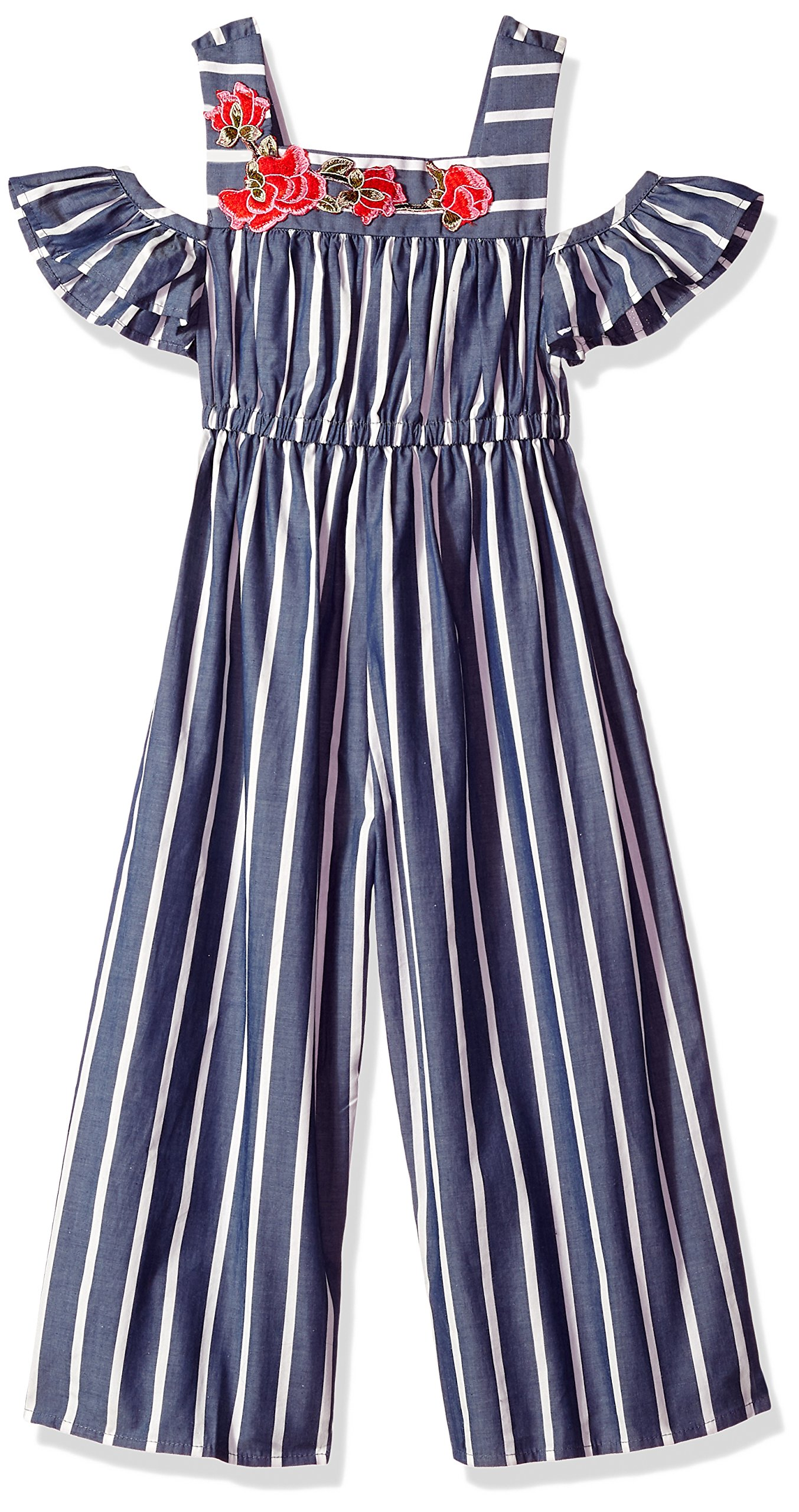 Bonnie Jean Big Girls' Jumpsuit, Blue Stripe, 10
