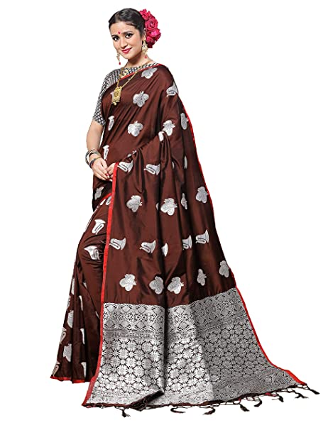 c82ebc9135 Vanishri Women's Zari Weaving Silk Saree with Contrast Blouse (Brown, Free  Size): Amazon.in: Clothing & Accessories