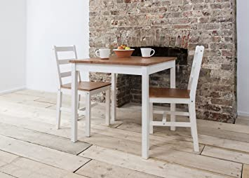 Dining Table And 2 Chairs Dining Set Bistro White Natural Pine