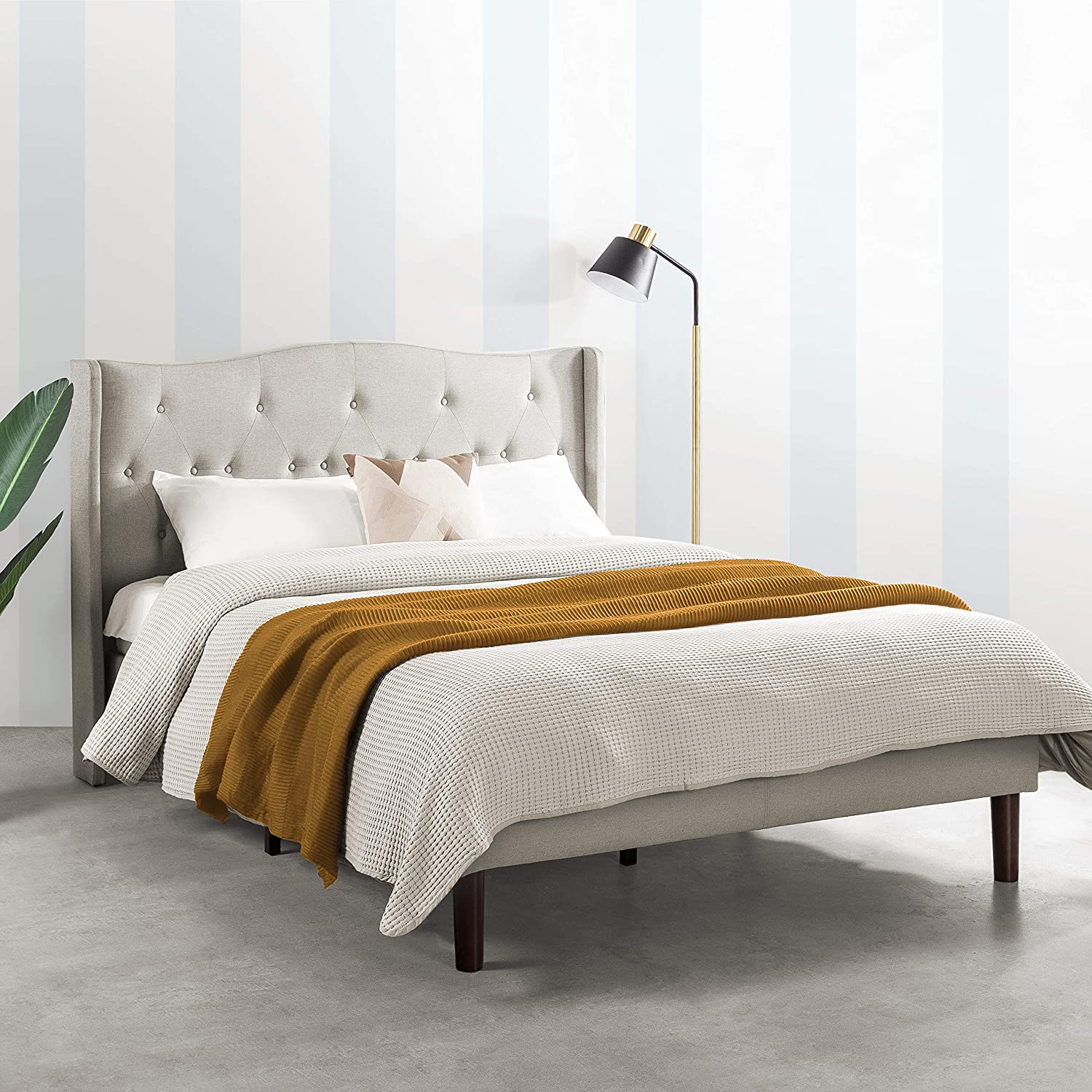 Mellow AMABEL Upholstered Platform Bed, Modern Tufted Wingback Headboard, Real Wooden Slats and Legs, Light Grey, Queen