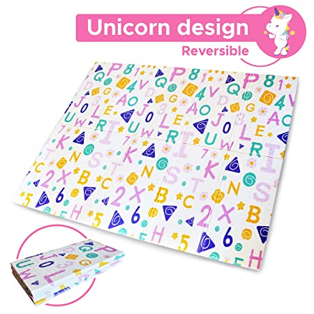 Extra Large Baby Play Mat, Baby Mat, Foam Mat, Reversible Unicorn Playmat, Baby Crawling Mat XPE and BPA Free,Non Toxic Waterproof for Kids Toddler Infants. Portable Outdoor or Indoor Use 78x61x0.4in