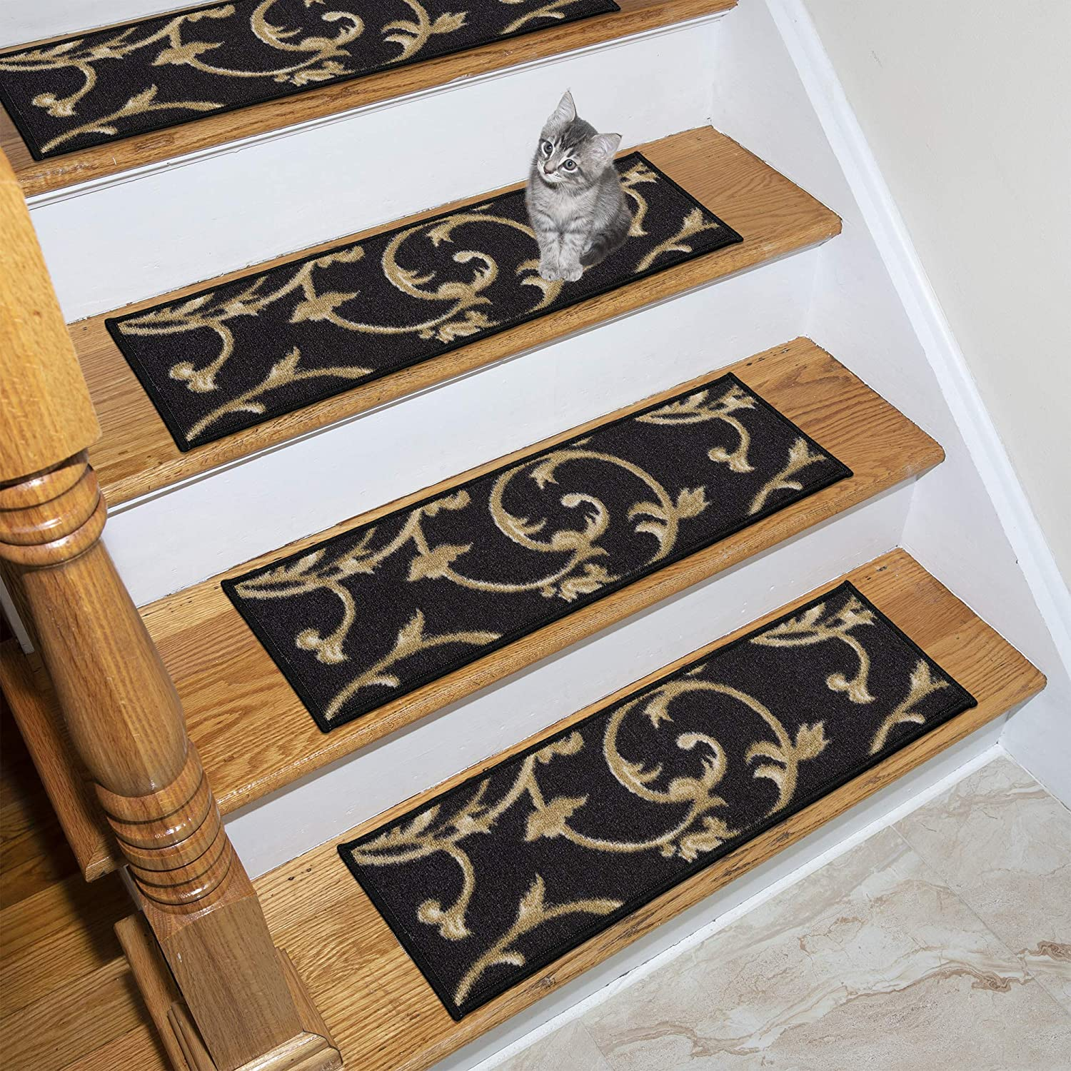 Ottomanson Ottohome Collection Stair Tread, 8.5 X 26 Pack of 7, Black OTH3043-7