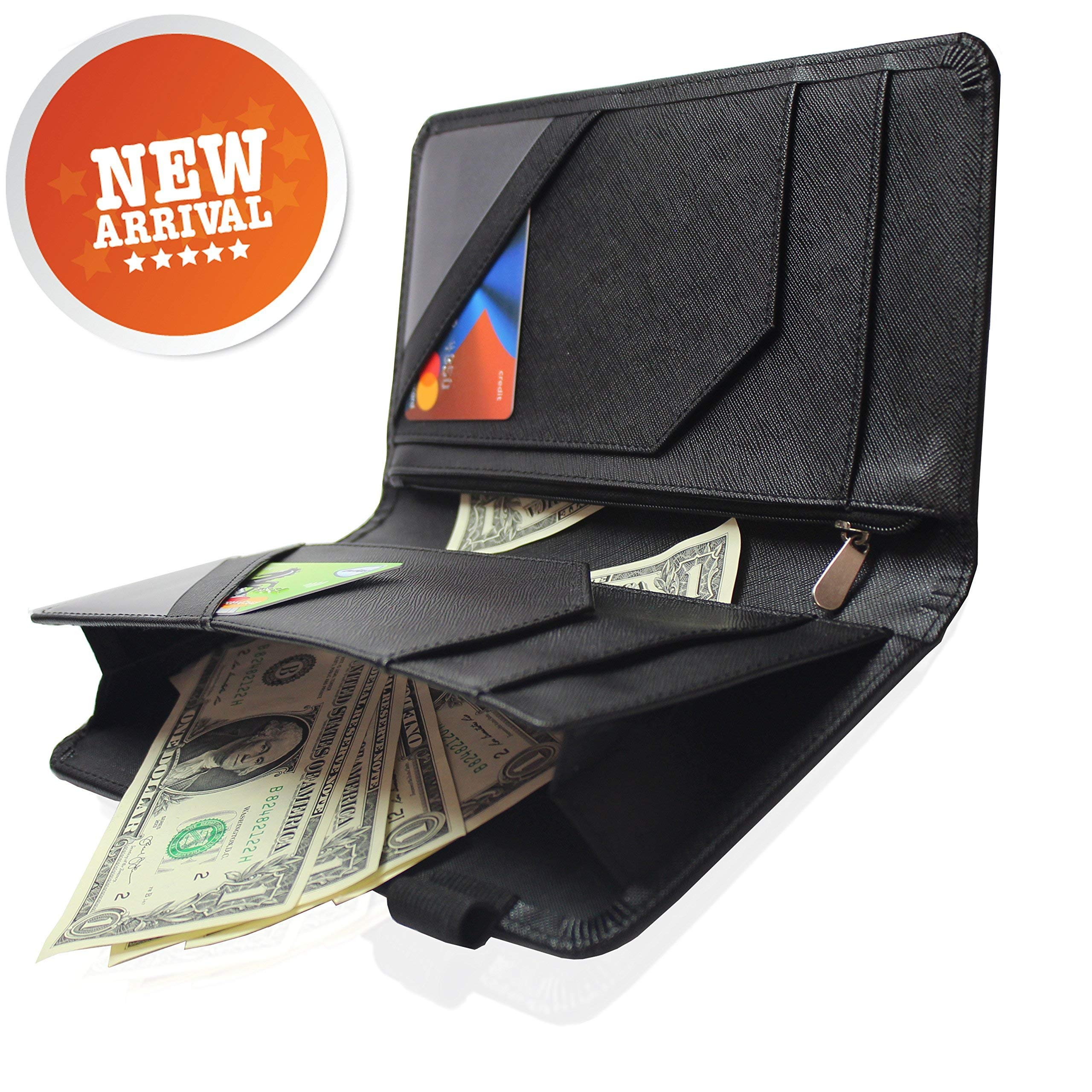 Waitress Waiter Server Book Organizer with Zipper Pocket Wallet for Waitstaff Black 5x9 and 12 Money Pockets with Pen Holder Fits Restaurant Guest Check Order Pad & Apron By Ogalv by Ogalv (Image #1)