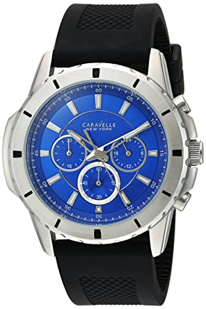 Bulova Mens Quartz Stainless Steel and Silicone Casual Watch, Color:Black (Model: