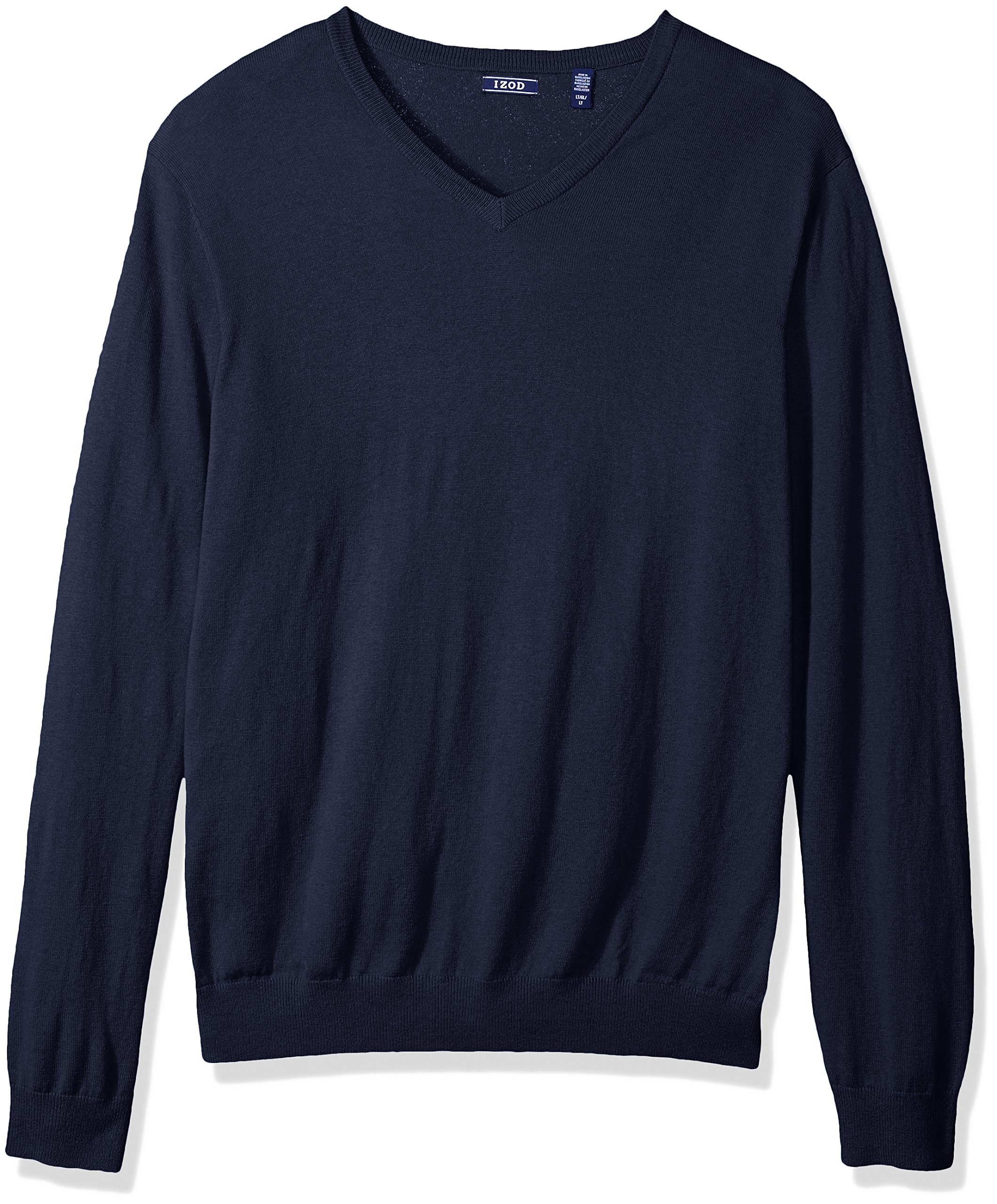IZOD Men's Big and Tall Fine Gauge Solid V-Neck Sweater, Peacoat, Large Tall