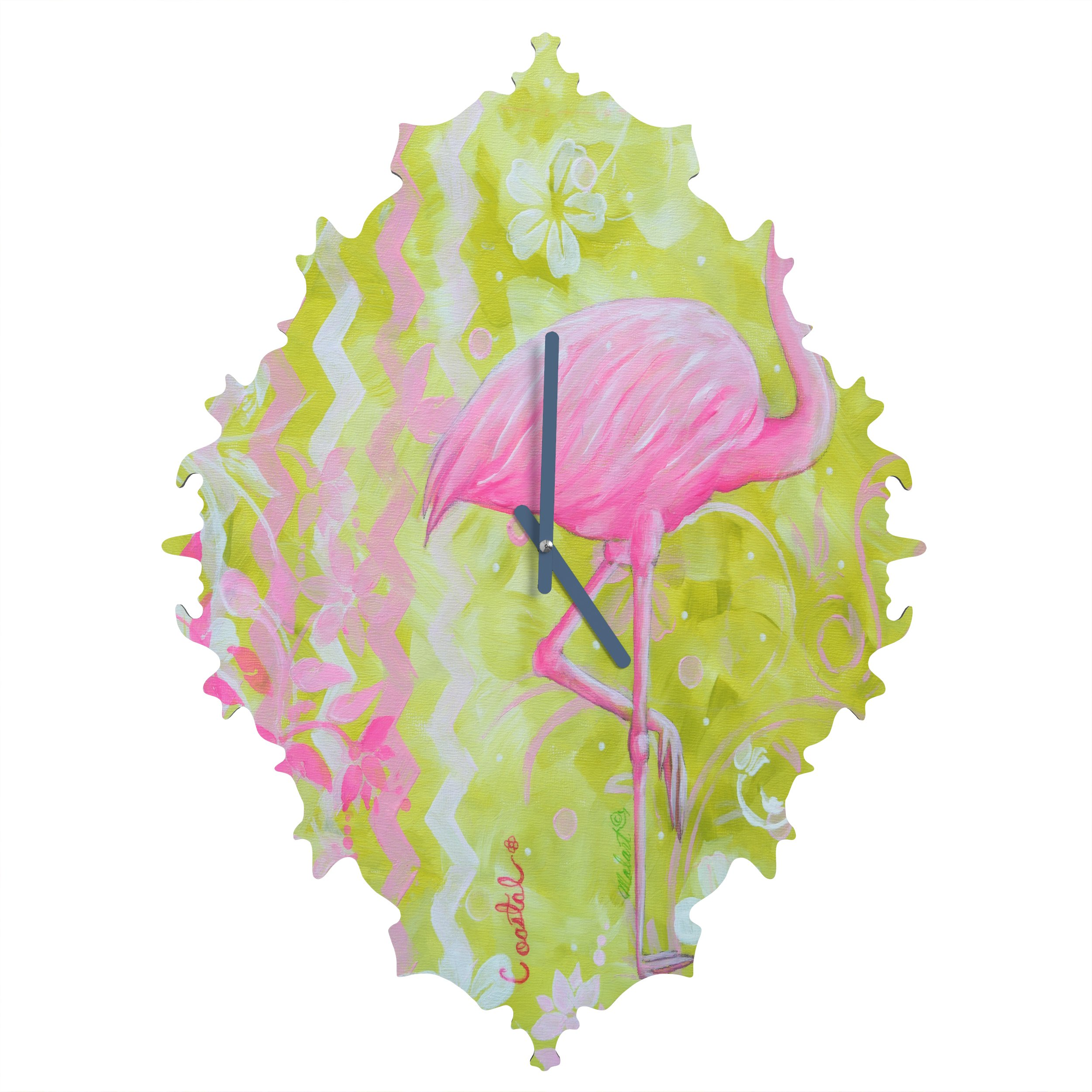 Deny Designs Madart Inc., Flamingo Dance, Baroque Clock, Medium