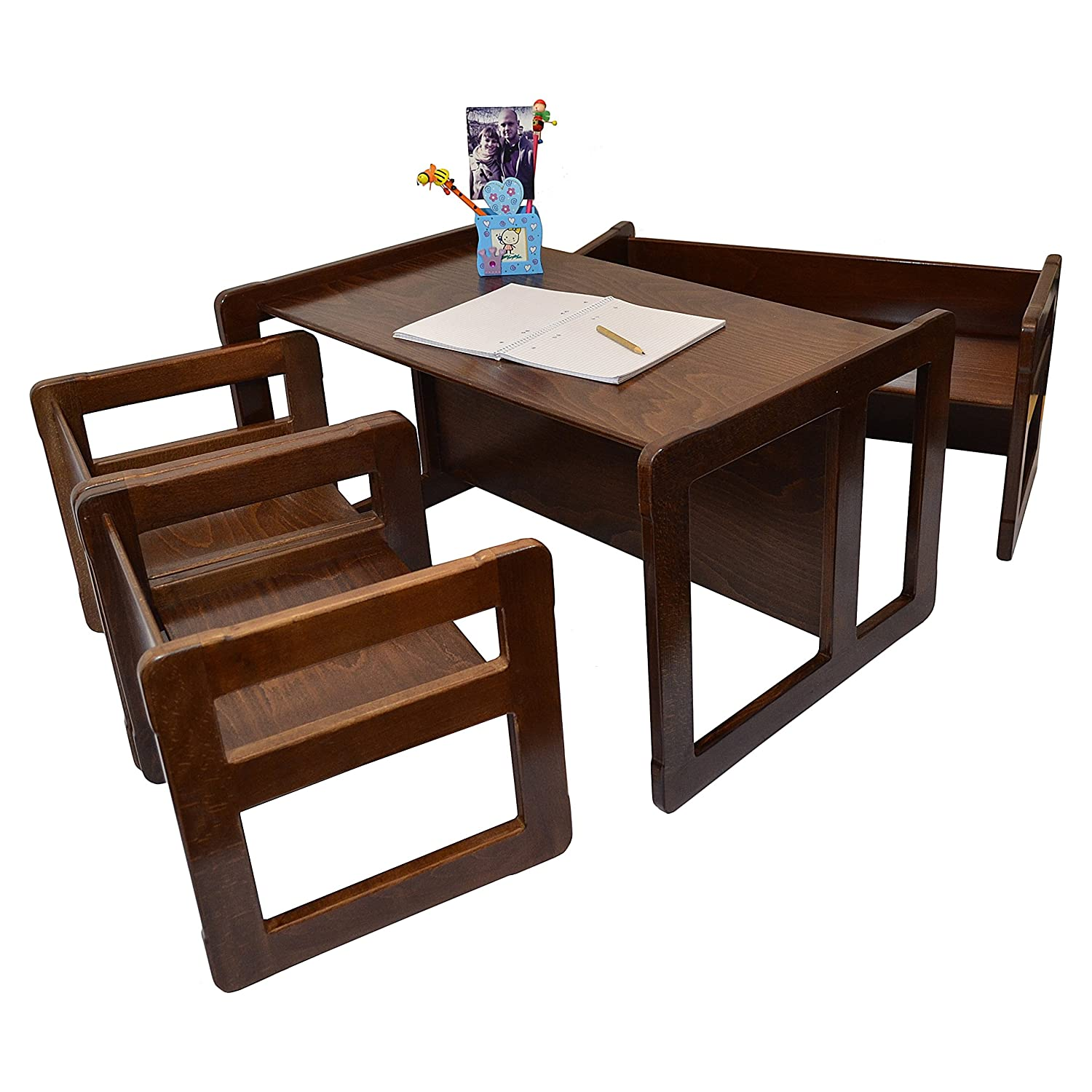 3 in 1 Adults Multifunctional Nest of Coffee Tables Set of 4 or Childrens Multifunctional Furniture Set of 4 Dark Stained Two Small Chairs or Tables and One Small Bench or Table and One Large Bench or Table Beech Wood
