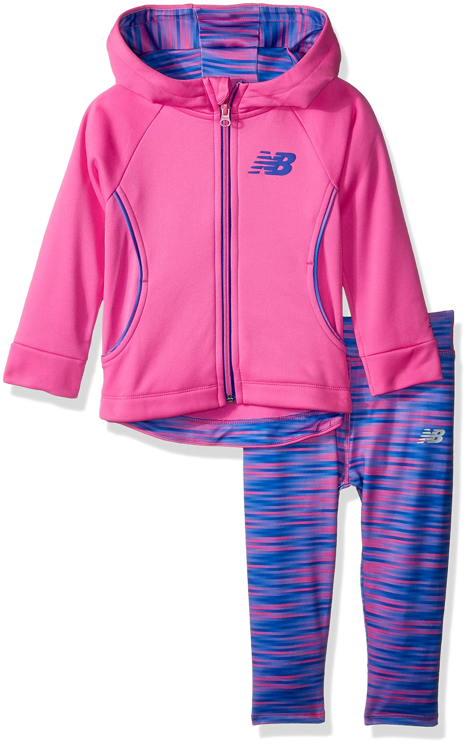New Balance Kids Toddler Girls' Hooded Jacket and Tight Set, Fusion/Gradient Blur, 2T