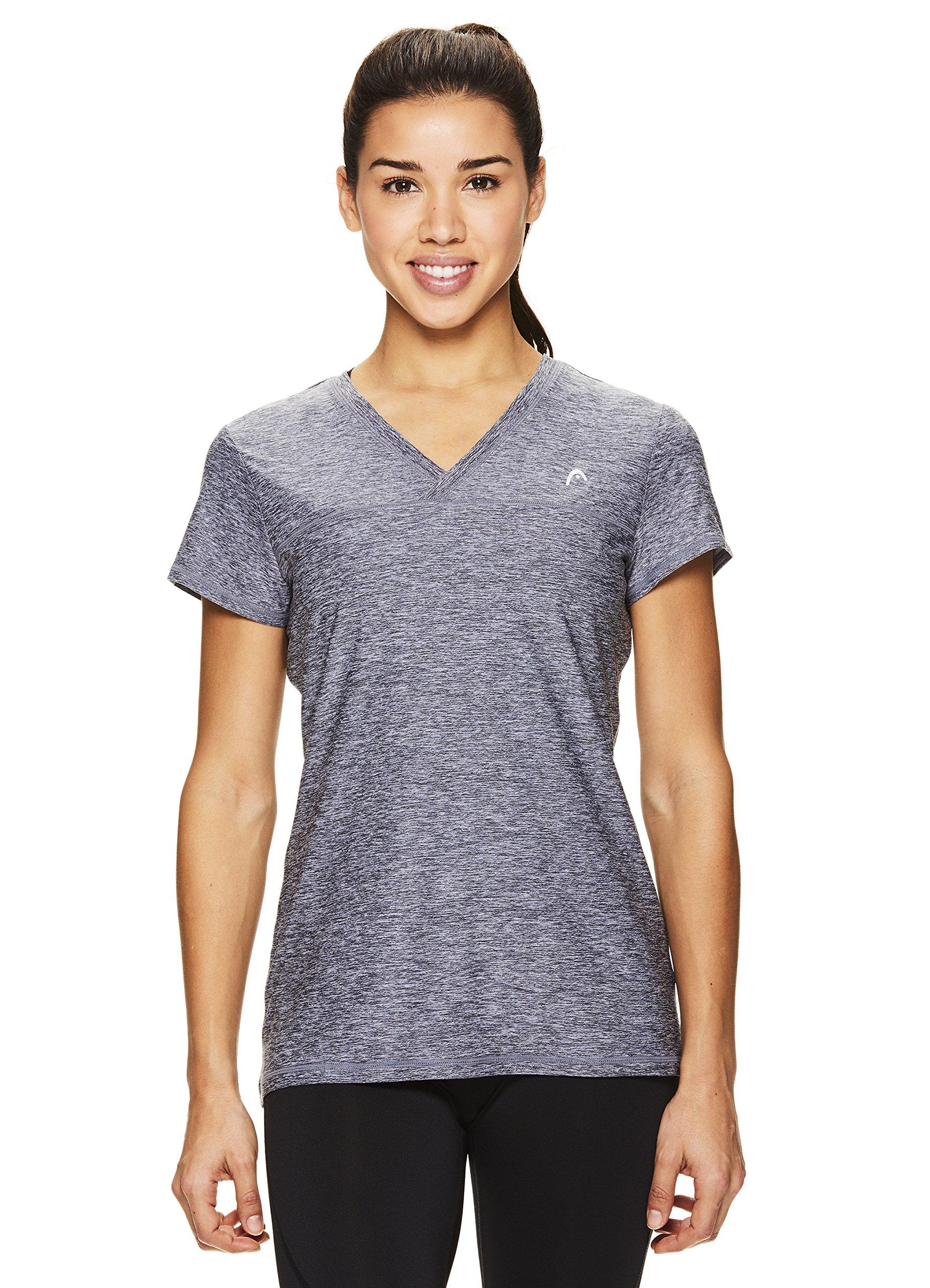 HEAD Women's High Jump Short Sleeve Workout T-Shirt - Performance V-Neck Activewear Top - Medium Grey Heather, X-Small