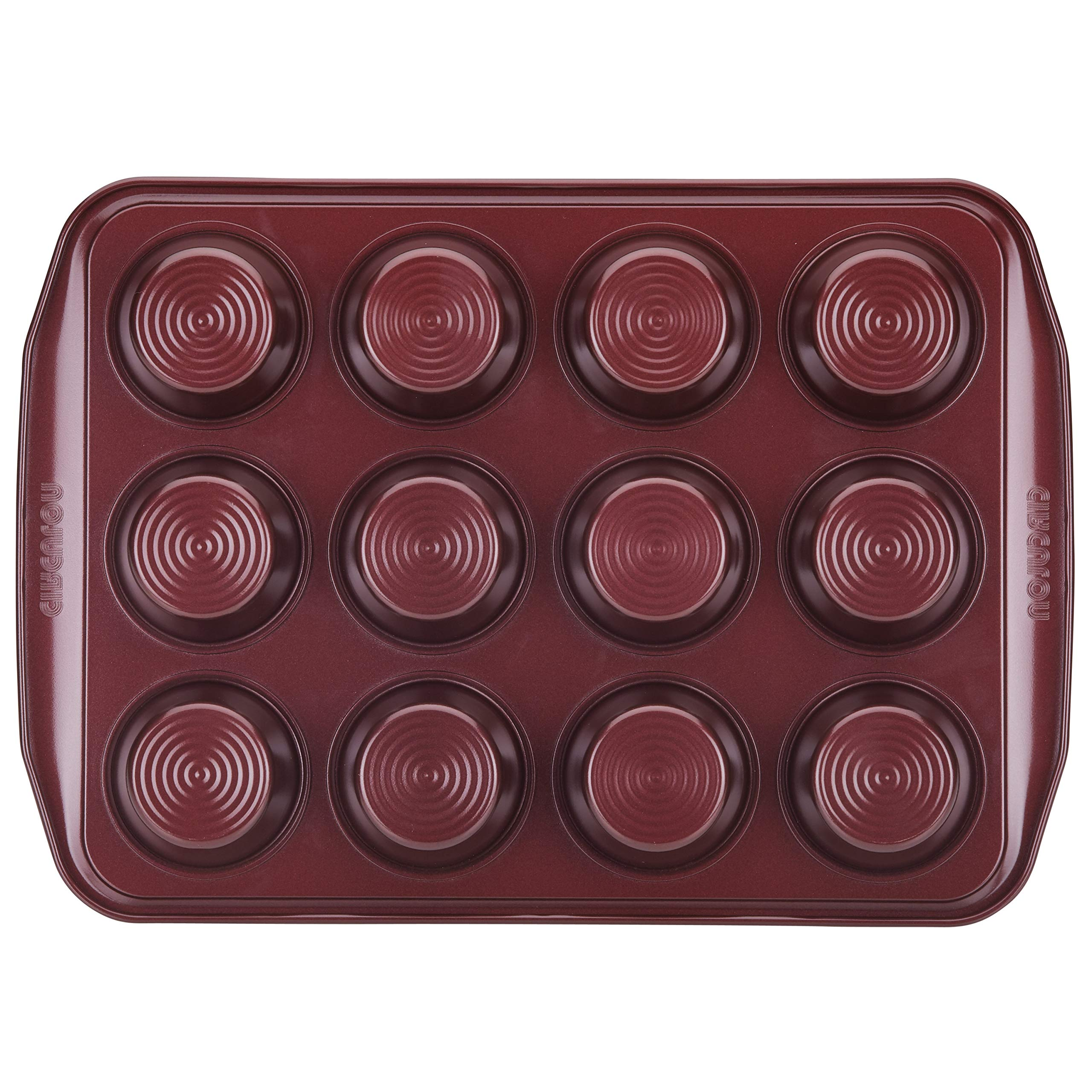 Circulon 47882 12-Cup Steel Muffin Pan, Merlot by Circulon (Image #1)