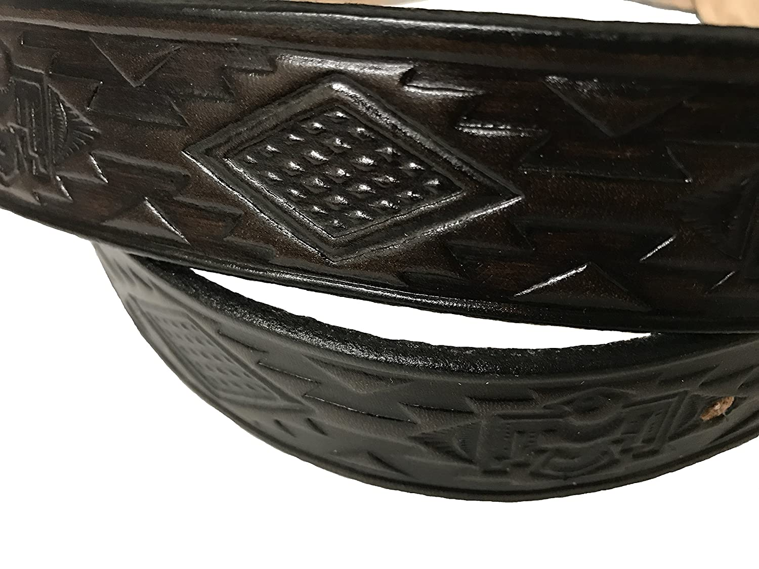 Native Indian Design Handmade Mens Leather Belt Western Work Casual 1.5 Wide Color Cocoa Brown