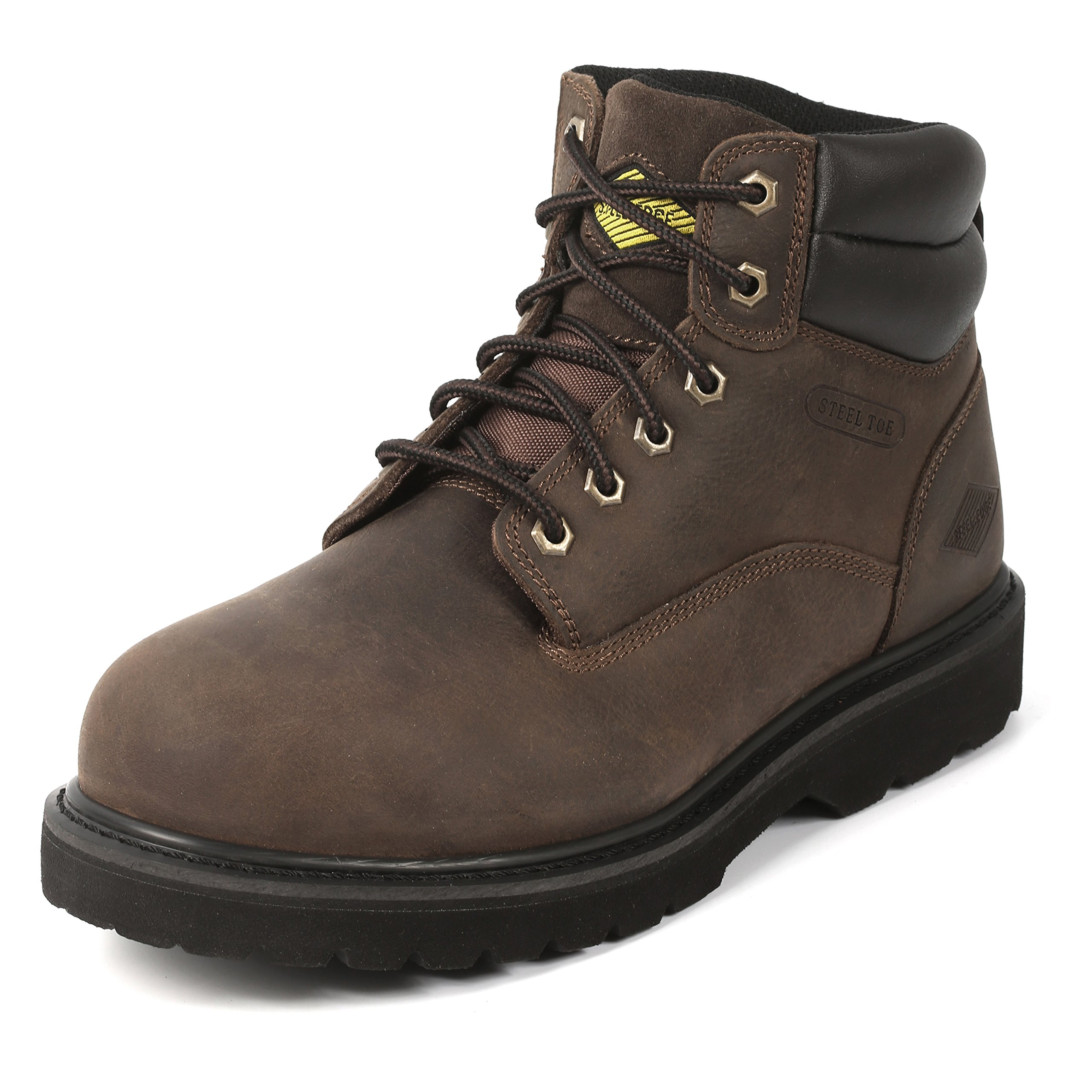 """6"""" Steel Toe Work Boots - Timberland Style - Oil Slip Resistant Safety Shoes (8.5)"""