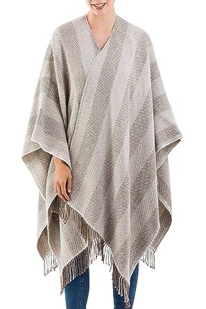78a20d67e91 NOVICA Brown and Ivory 100% Baby Alpaca Ruana Cloak