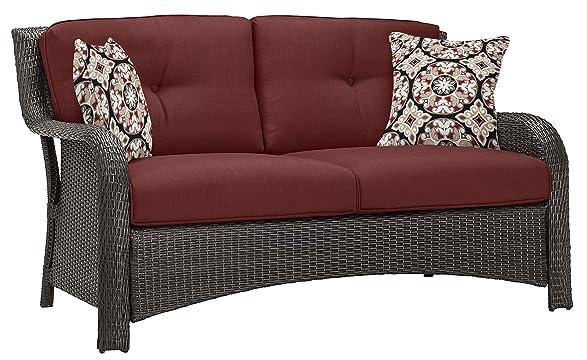 Amazon.com: Hanover Strathmere 6 Piece Outdoor Deep Seating Lounge Set,  Rich Brown/Crimson Red: Garden U0026 Outdoor