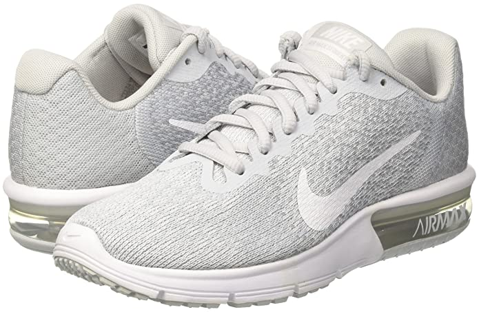Amazon.com   Nike Womens Air Max Sequent 2 Low Top Lace Up Running Sneaker, Silver, Size 6.5   Road Running