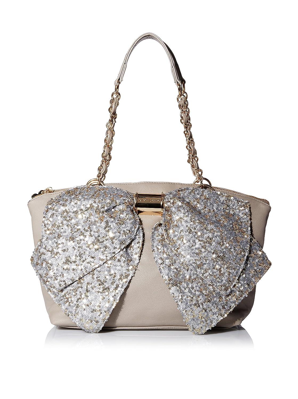 Betsey Johnson Bj55235p Bownanza Glm Large Sequin Bow Stone Satchel Shouder Bag