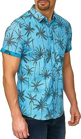 Indicode Caballero Edith Camisa con Estampado All-Over de Palmeras y Bolsillo en el Pecho 100 % algodón   Regular Fit Manga Corta Camisa Verano, Sol, ...
