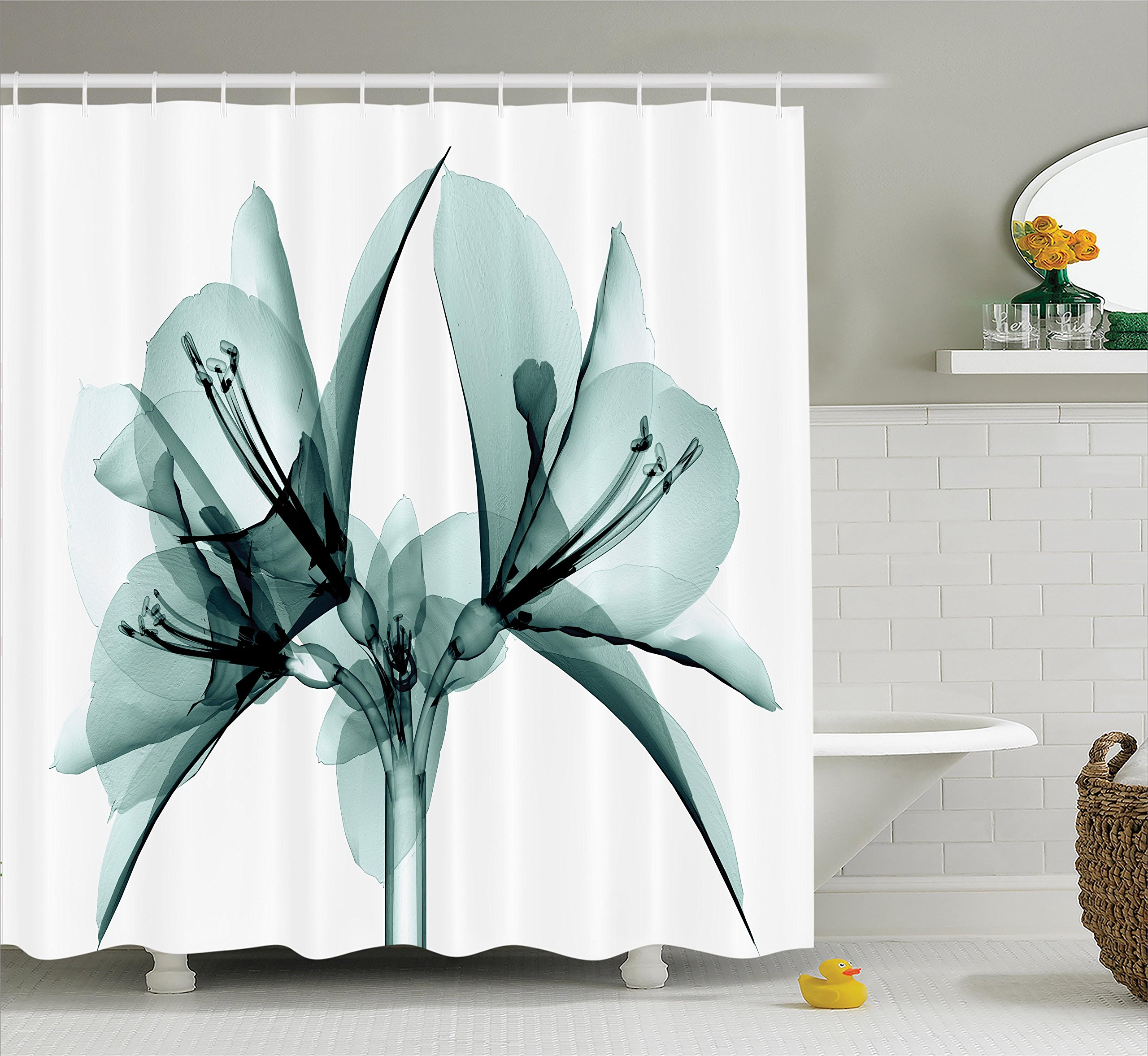 Ambesonne Xray Flower Decor Collection, Illustration of a Blooming Transparent Flower X-ray Vision of Nature Solarized Print, Polyester Fabric Bathroom Shower Curtain, 84 Inches Extra Long, Teal White
