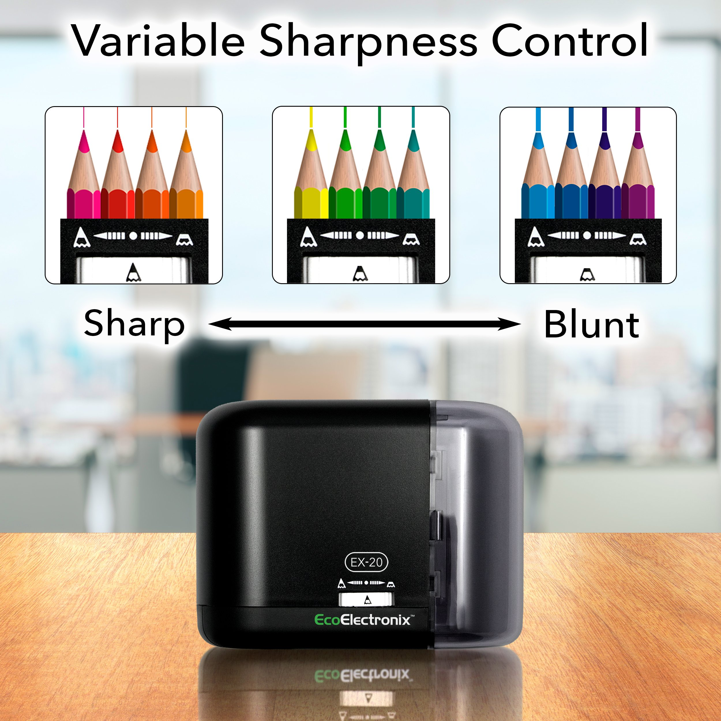 EX-20 Electric Pencil Sharpener - Battery and AC Powered (Adapter Included), For Standard & Artistic Sharpening, Ideal For No. 2 and Colored Pencils (Artist Drawing, Coloring), Compact Durable Design by EcoElectronix (Image #3)