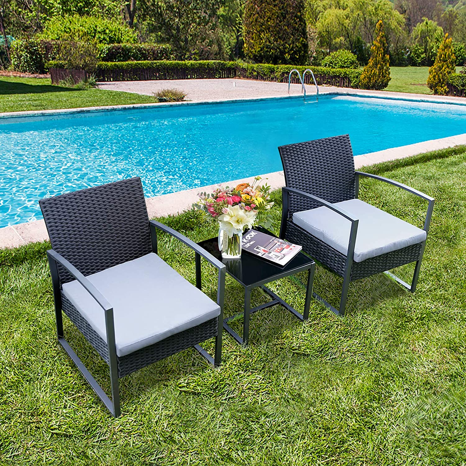 Viewee 3 Pieces Patio Rattan Sets, Modern Outdoor Furniture with 2 PE Rattan Chairs, 2 Thicker Cushions and 1 Square Metal Side Table for Indoor and Outdoor Porches, Decks and Balconies
