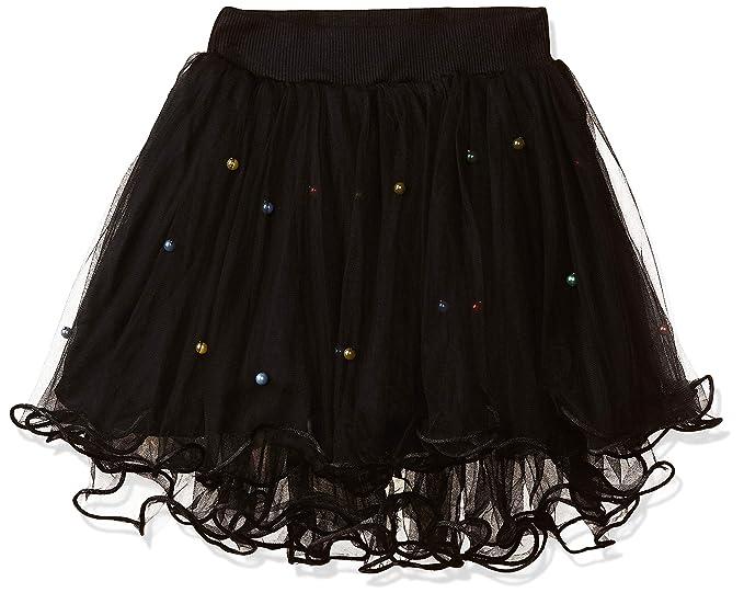 Yts yuzikou girl s polyester trendy floral applique skirt black