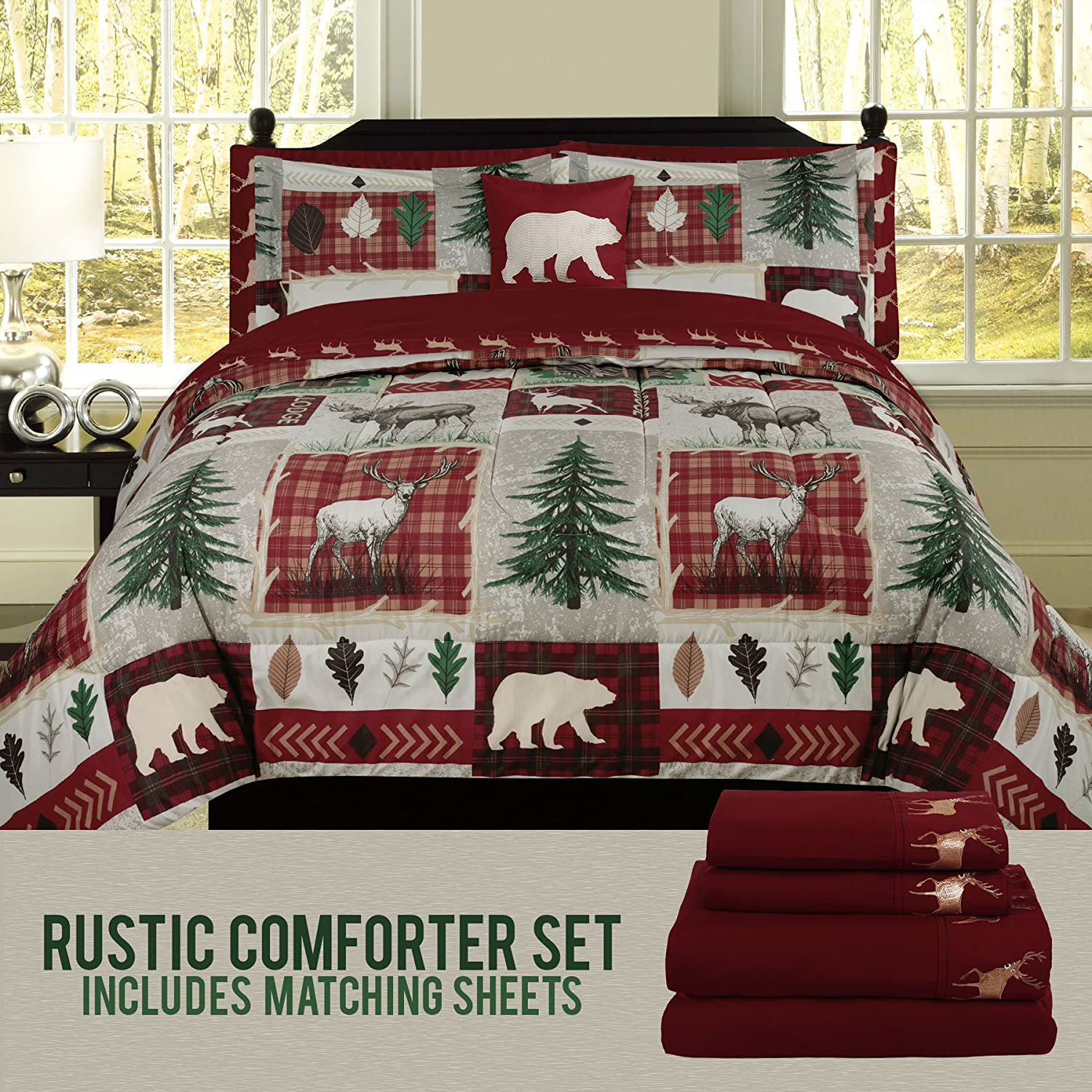 HowPlum Bear Lodge Elk Rustic Twin Comforter 6 Piece Bedding and Deer Sheet Set Cabin Hunting Bed in a Bag