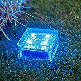 4er Set LED Solar Glas Pflastersteine Wegbeleuchtung blau groß Lights4fun