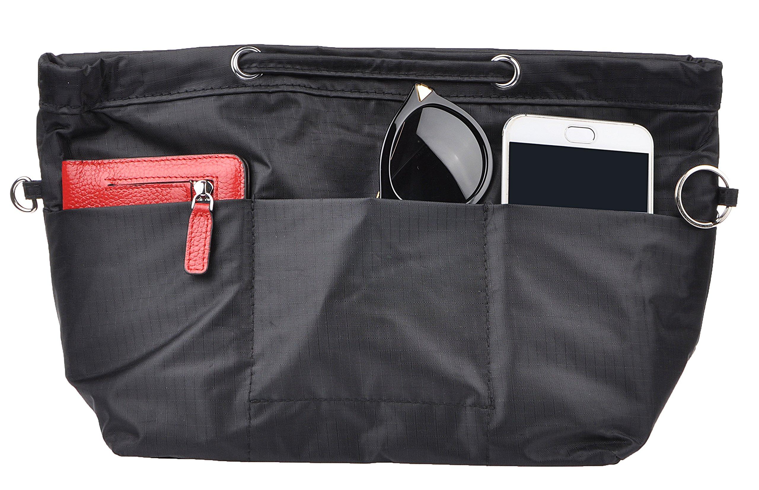 Vercord Oxford Handbag Purse Tote Pocketbook Insert Organizer With Handle 2 Sizes, Black M