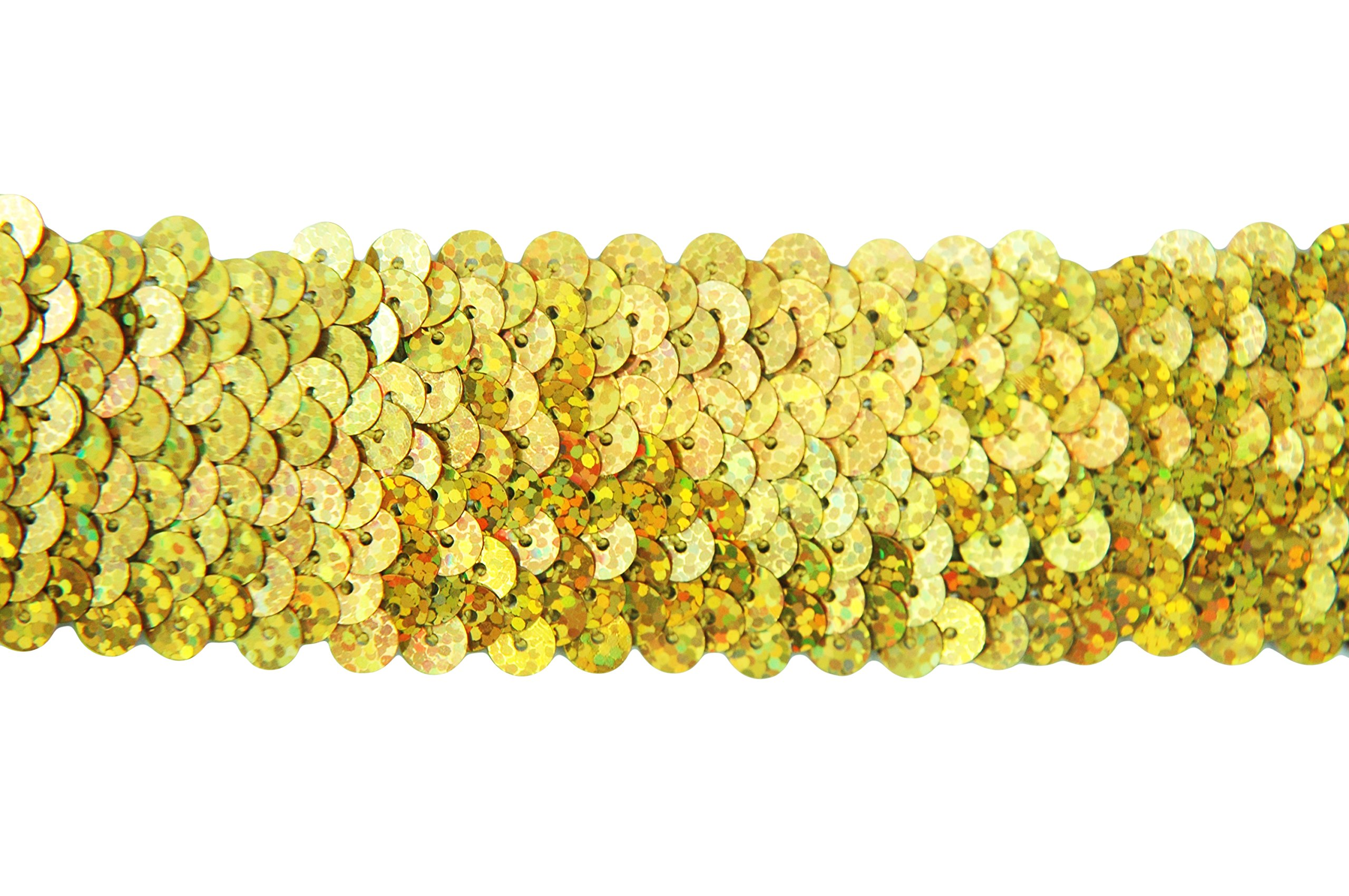 Stretch Sequin Trim Roll - 1.5'' Wide 11yd Length - Gold - Available in 18 Colors - 2 Widths - Threadart by Threadart