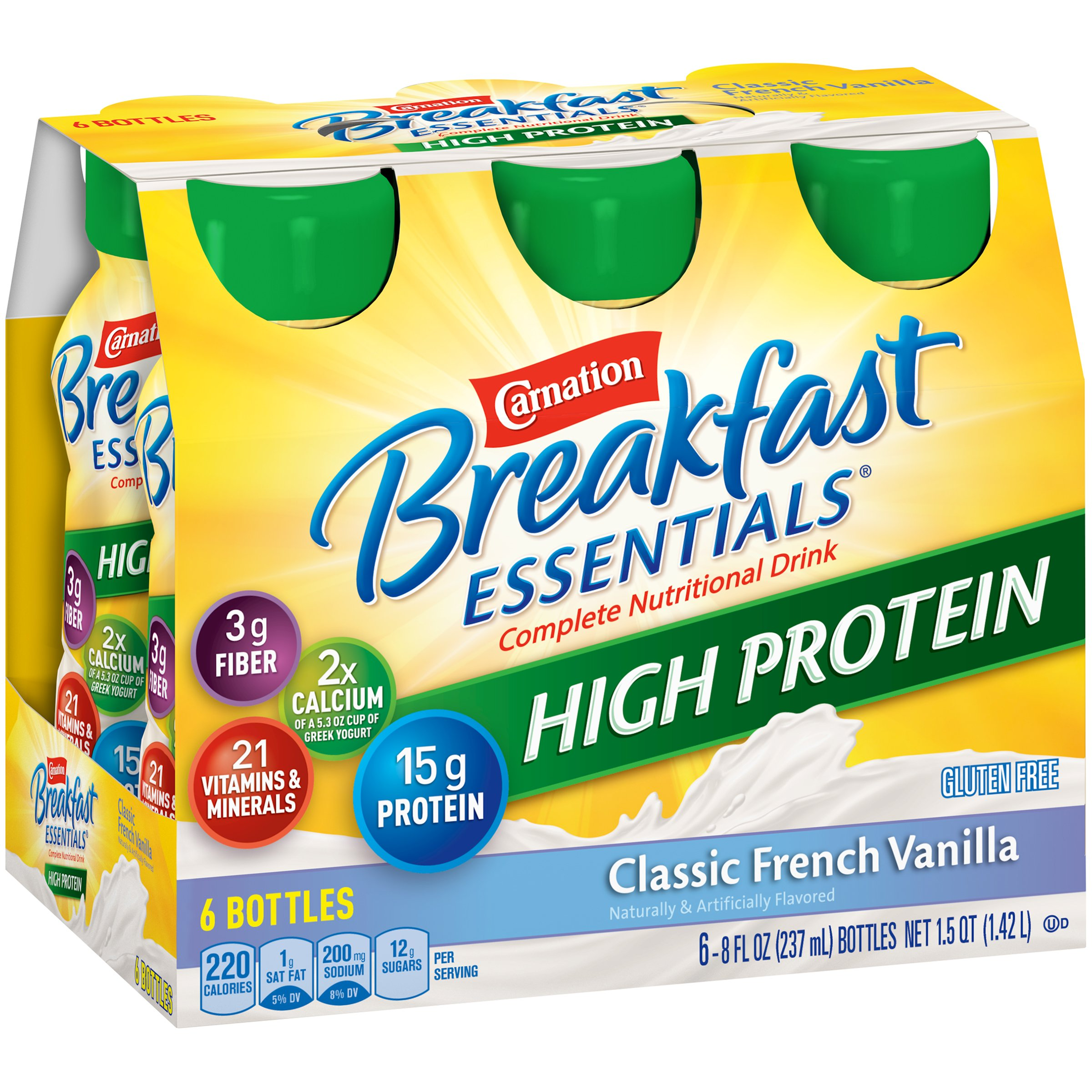 Carnation Breakfast Essentials High Protein Ready-to-Drink, Classic French Vanilla, 8 fl oz Bottle, 24 Pack