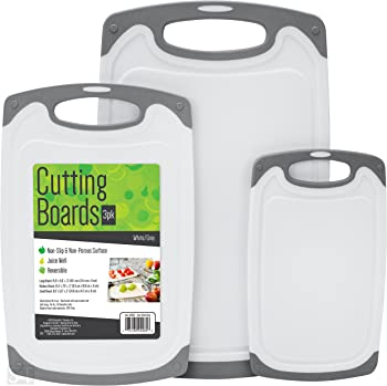 Schroeder & Tremayne 3-Pack BPA Free Cutting Boards with Rubberized Grips