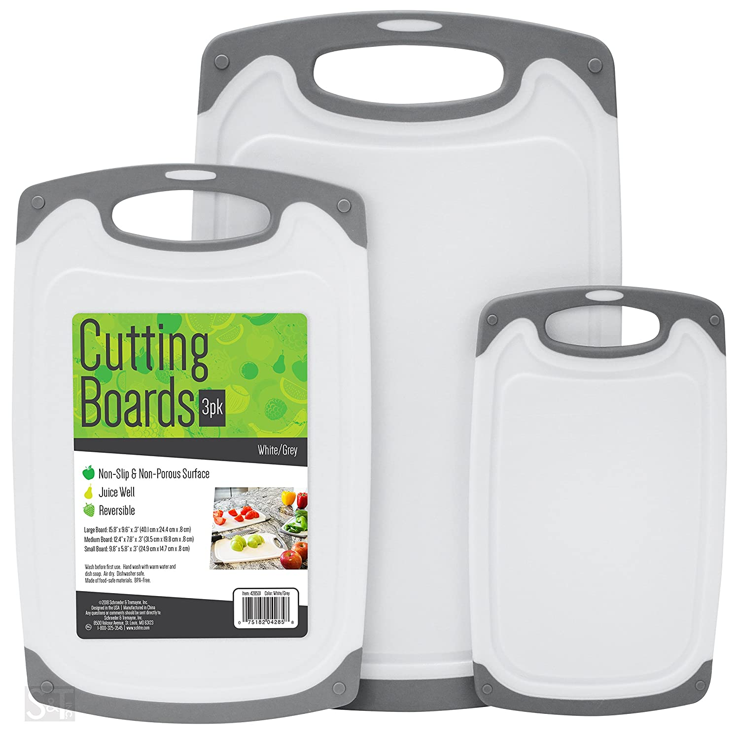 S&T 428501 BPA Free Cutting Boards W/ Rubberized Grips & Juice Grooves, 3 Pack Schroeder & Tremayne Inc.