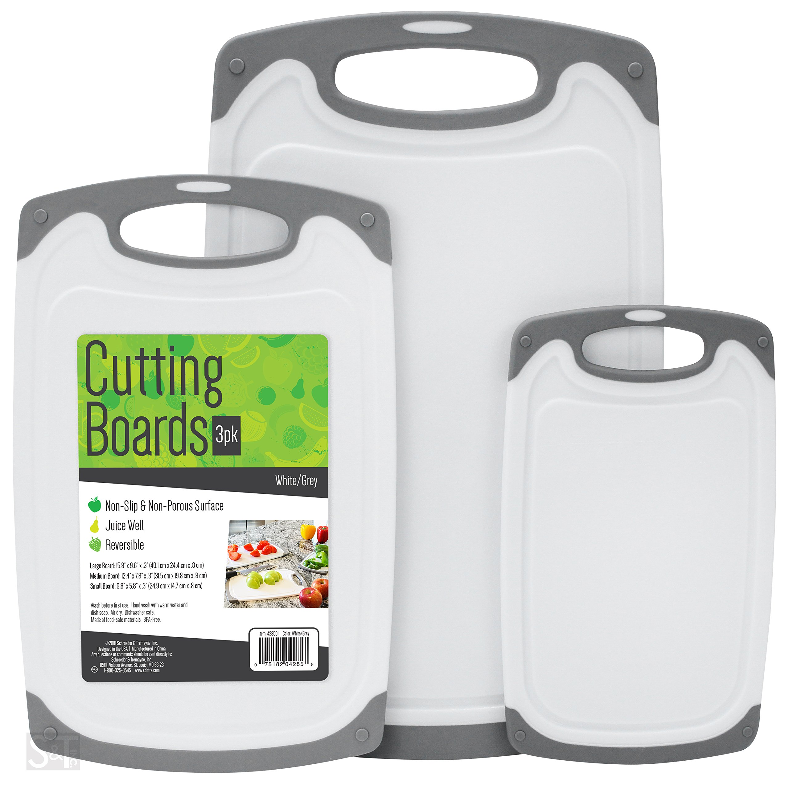 S&T 428501 BPA Free Cutting Boards W/ Rubberized Grips & Juice Grooves, 3 Pack