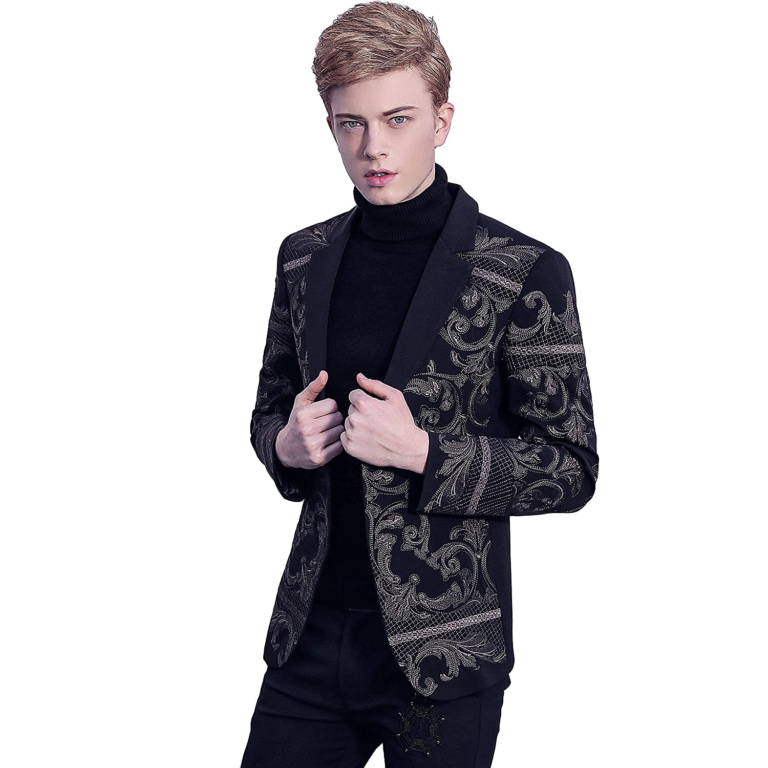 8e0ef63c FANZHUAN Mens Black Fashion Embroidery Blazer Slim Fit: Amazon.co.uk:  Clothing