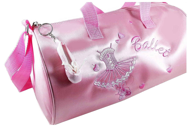 Balletttasche Mädchen Rosa + Ballettschuh Taschenanhänger-Helles Pink-Umhängetasche-Tragegriffe-Stickerei (Gr. M) AVIDESO