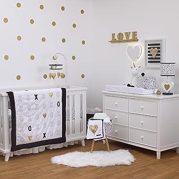 Amazoncom NoJo NoJo XOXO 4Piece Crib Bedding Set Black