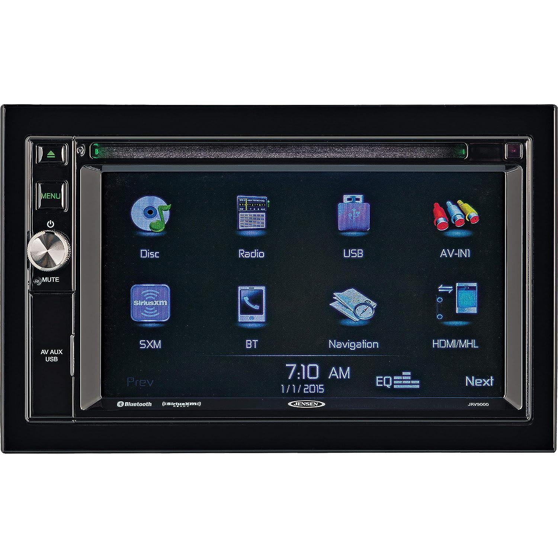 "JENSEN JRV9000R 2.0 Double DIN 6.2"" Touchscreen Navigation / Bluetooth Multimedia Receiver System JRV9000 with Harness, DVD, NAV, SiriusXM Ready, BT Technology, iPhone / iPod, MHL, HDMI, USB, AV In."