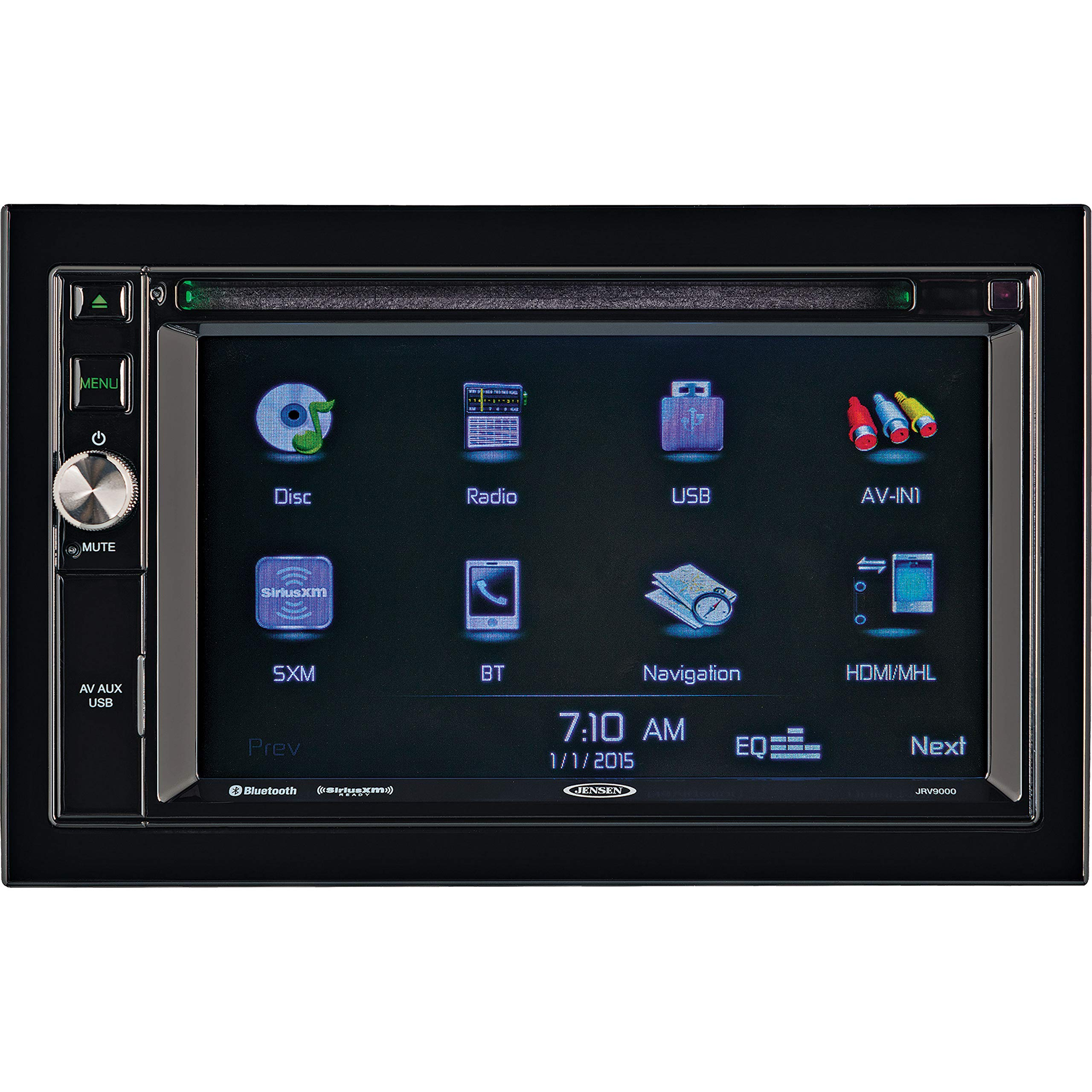 Jensen JRV9000R Touchscreen Multimedia Navigation System, Electronic AM/FM Tuner with RBDS, DVD/CD/MP3/WMA Playback, Built-in Bluetooth with External Microphone, Built-in GPS navigation and Mapping by Jensen