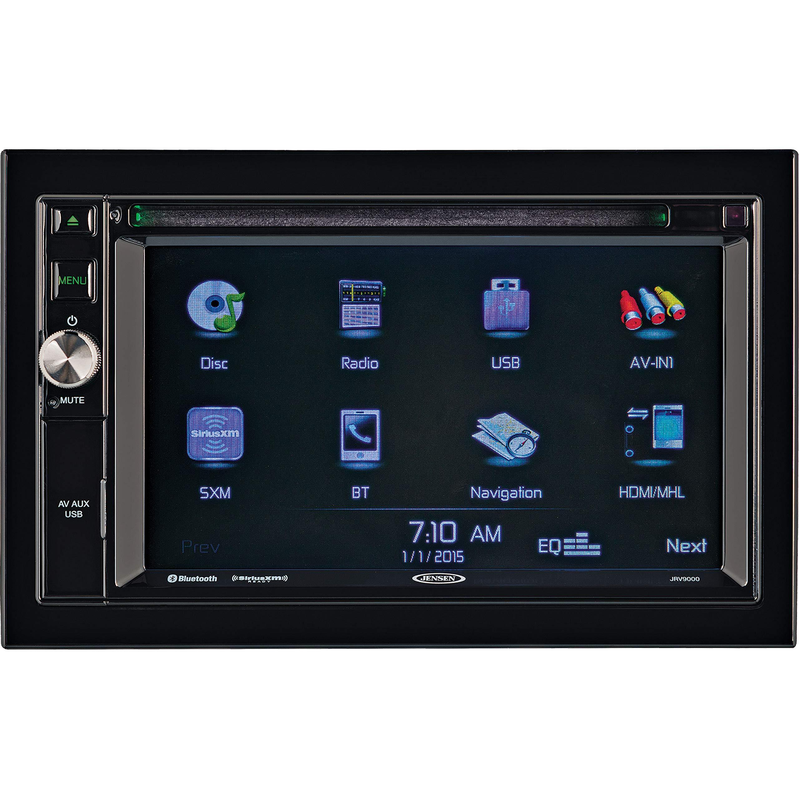 JENSEN JRV9000R 2.0 Double DIN 6.2'' Touchscreen Navigation / Bluetooth Multimedia Receiver System JRV9000 with Harness, DVD, NAV, SiriusXM Ready, BT Technology, iPhone / iPod, MHL, HDMI, USB, AV In.