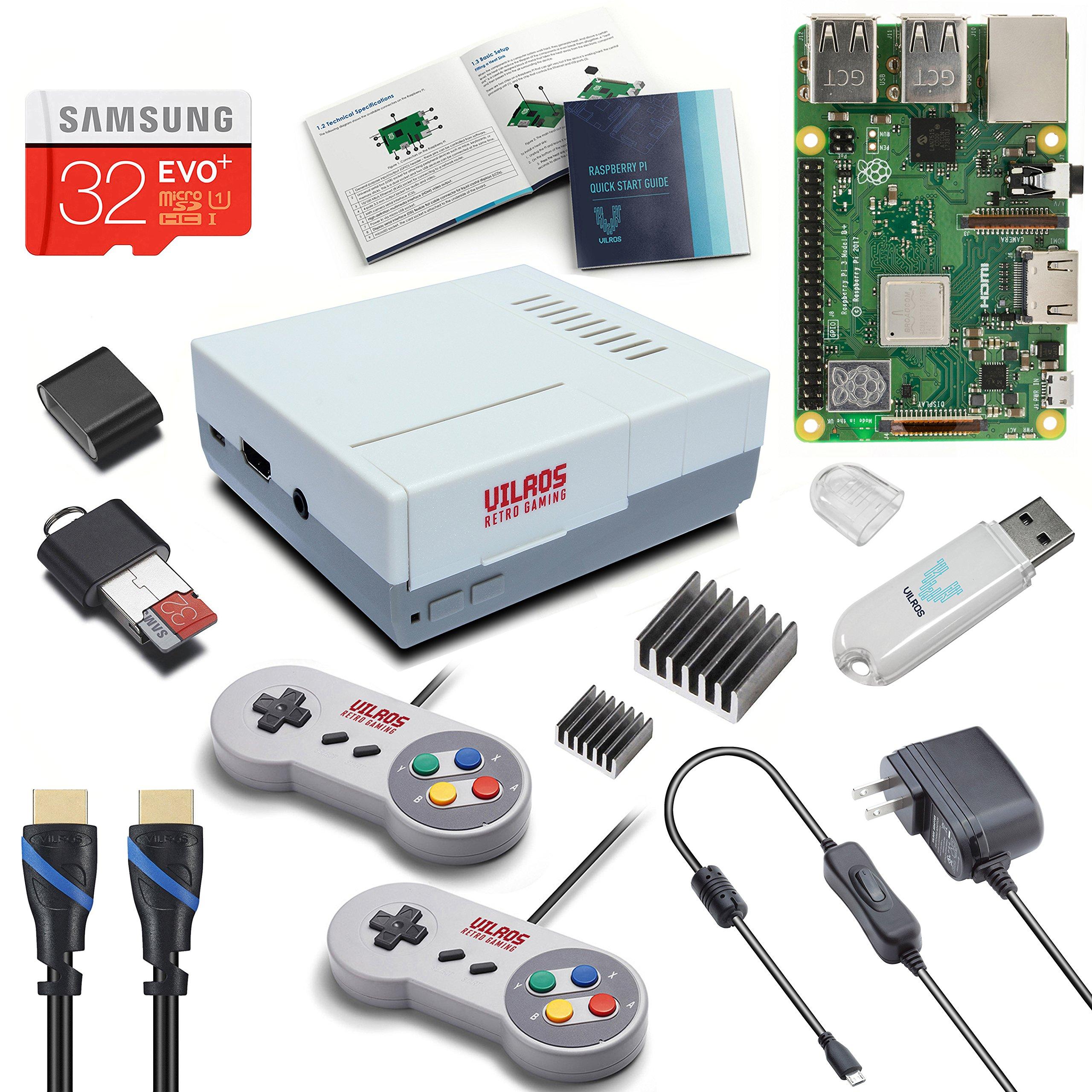 V-Kits Raspberry Pi 3 Model B+ (B Plus) Retro Arcade Gaming Kit with 2 Classic USB Gamepads [2018 Model] by Vilros