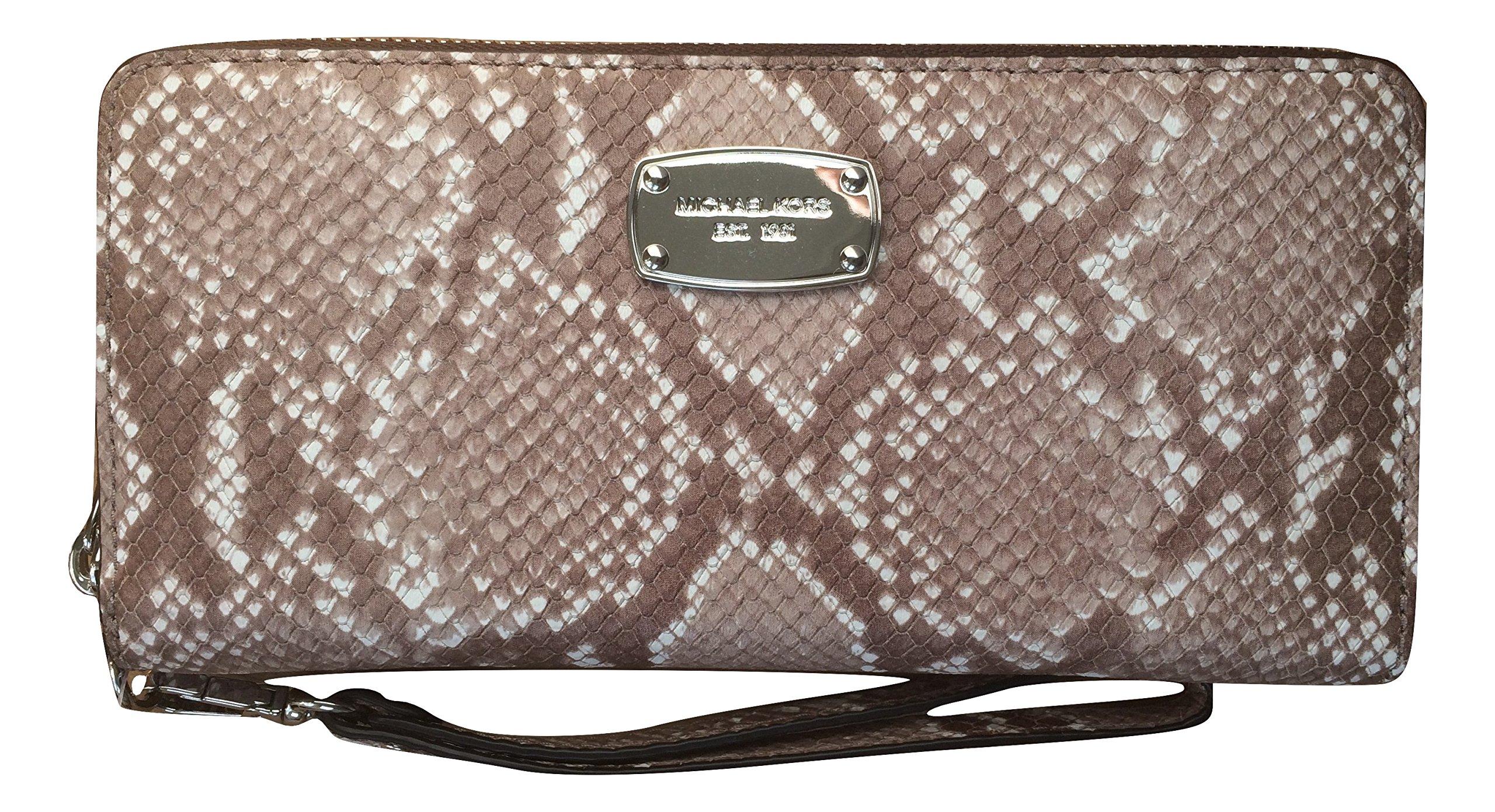 Michael Kors Leather Jet Set Travel Embossed Leather Continental Zip Around Wallet Wristlet (Dark Sand)