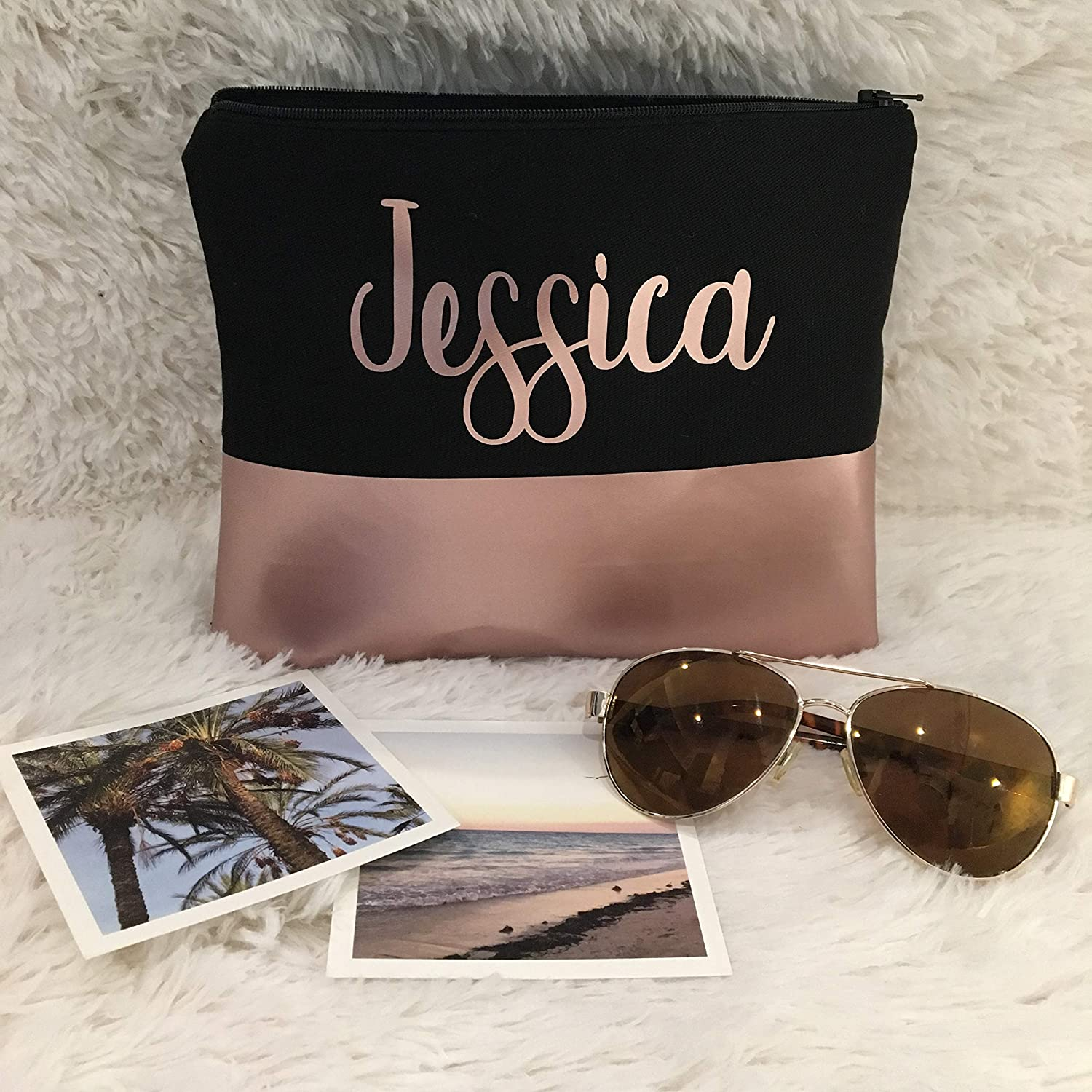 Rose Gold Custom Name Makeup Bag | Bridesmaid Gift | Monogram Bag | Wedding | Toiletry Bag | Cosmetic Bag | Zipper Pouch | Edmonton, Alberta