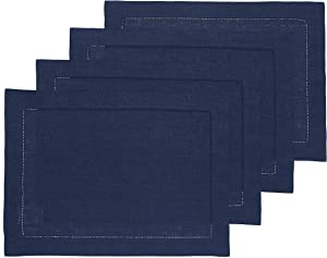 Solino Home 100% Pure Linen Hemstitch Placemats - Navy Set of 4, 14 x 19 Inch Placemats, European Flax Natural Fabric Machine Washable Classic Hemstitch- Handcrafted with Mitered Corners