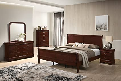 Roundhill Furniture Isola Louis Philippe Style Sleigh Bedroom Set, Queen  Bed, Dresser, Mirror