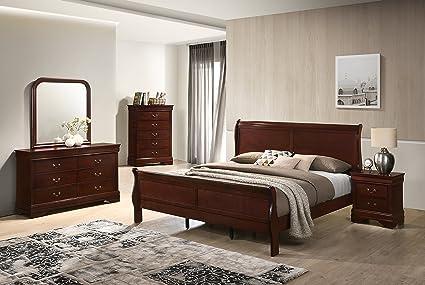 Roundhill Furniture Isola Louis Philippe Style Sleigh Bedroom Set, Queen  Bed, Dresser, Mirror