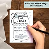 50 Baby Shower Mason Jar Prediction and Advice Game Cards | Gender Neutral, Boy, Girl, and Gender Reveal Themes | Best Wishes and Favor Keepsake Message Area for Mom and Dad