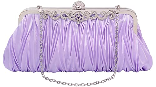 Pulama Gorgeous Shoulder Bag Clutch Fit Evening Formal Party Prom, Gift for Wife Girlfriend (two chains)
