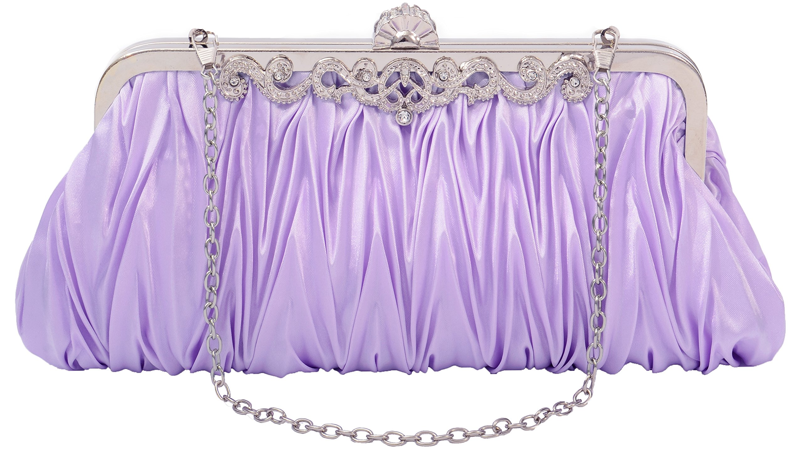 Pulama Gorgeous Shoulder Bag Clutch Fit New York Formal Party Prom Evening Dress, Lilac